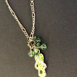 Green beaded flip flop necklace